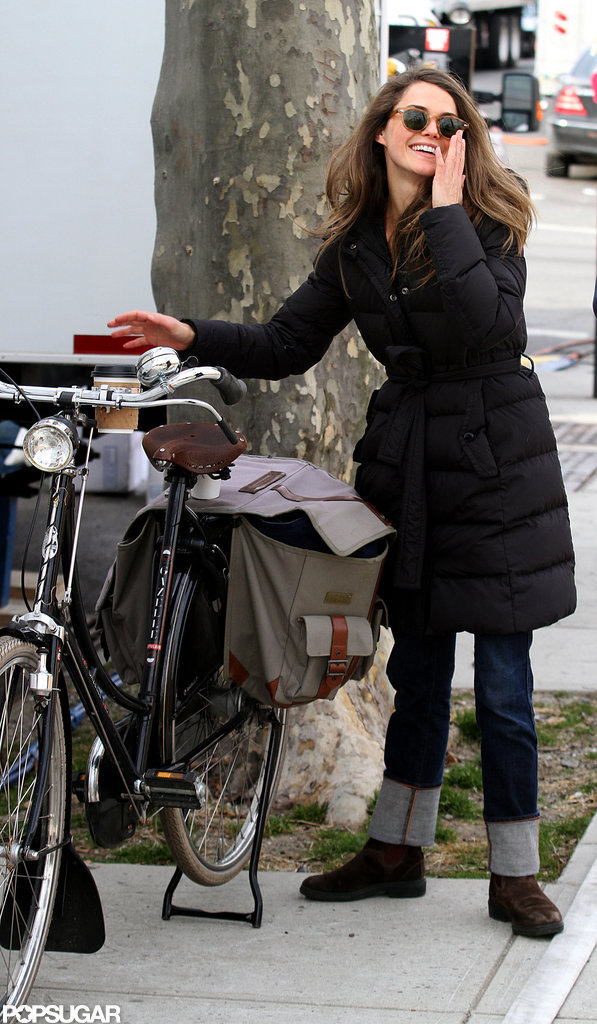 Keri Russell laughed on set.