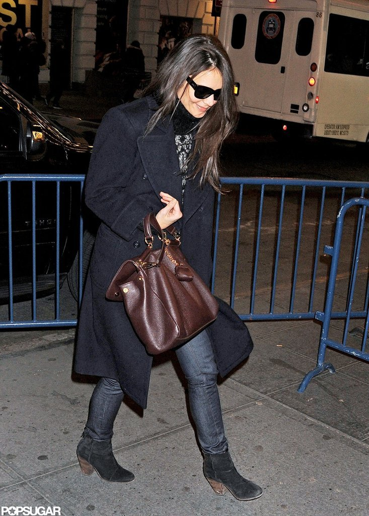 Katie Holmes headed into one of her last performances of her Broadway show, Dead Accounts.