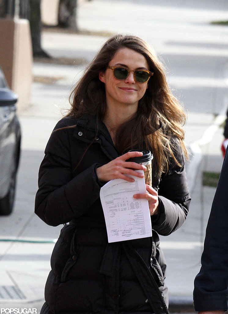 Keri Russell smiled with her coffee in hand.