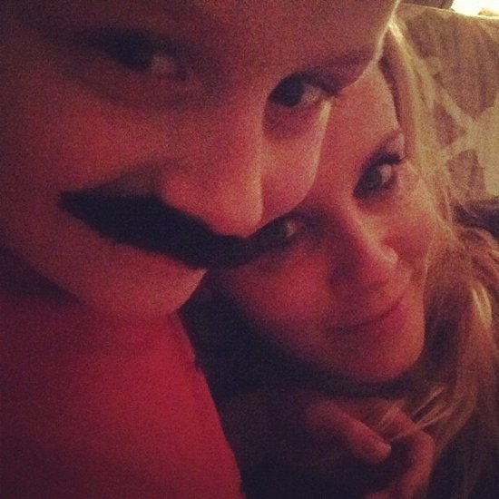 Jenny McCarthy snuggled up to her mustache-clad son, Evan, over the holidays. Source: Instagram user jannyannmccarthy