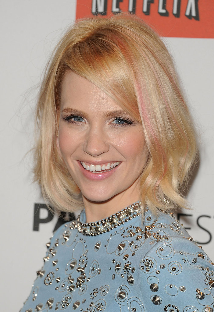 PaleyFest 2012 honored Mad Men, and January Jones ditched her seriously styled Betty Francis character for a studded dress and pastel-pink streaks.