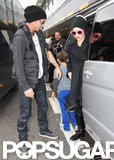 Gwen Stefani and Gavin Rossdale arrived at the London airport with their boys.