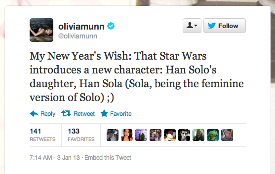 Actress Olivia Munn resolves to have girls run the Star Wars world. We absolutely agree.
