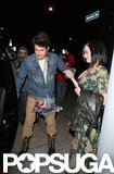 Katy Perry held hands with John Mayer following a dinner date at Osteria Mozza in LA last night.