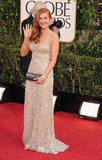 Isla Fisher wore a neutral gown at the 2013 Golden Globes.