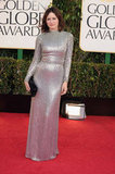 Emily Mortimer arrived to the 70th Annual Golden Globes in a silver sequined gown.