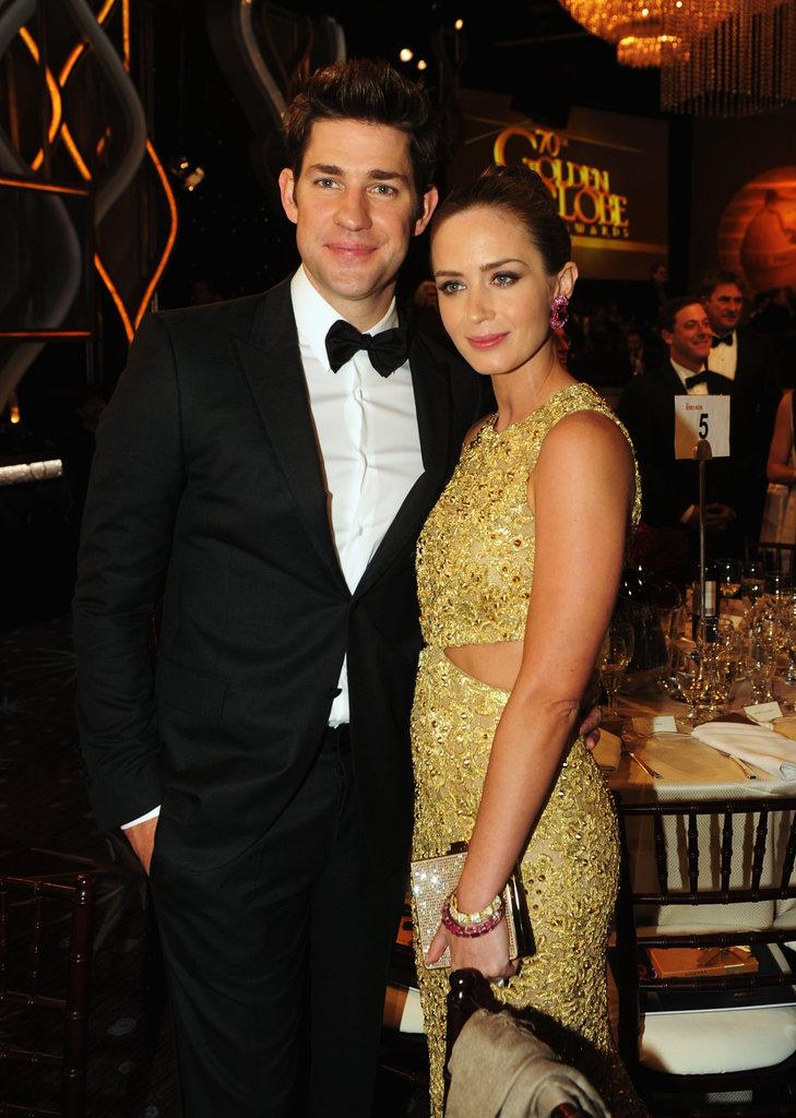 Couple Emily Blunt and John Krasinski at the 2013 Golden Globes.