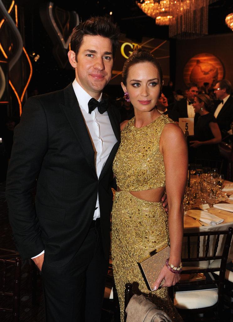 Emily Blunt and John Krasinski at the Golden Globes.