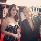 Golden Globes hosts Tina Fey and Amy Poehler posed together on the red carpet before heading into the show. Source: Instagram user goldenglobes