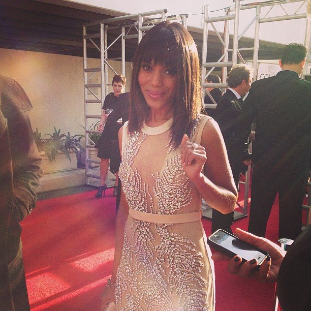 Kerry Washington glittered on the Globes red carpet in a sleek Miu Miu dress. Source: Instagram user goldenglobes