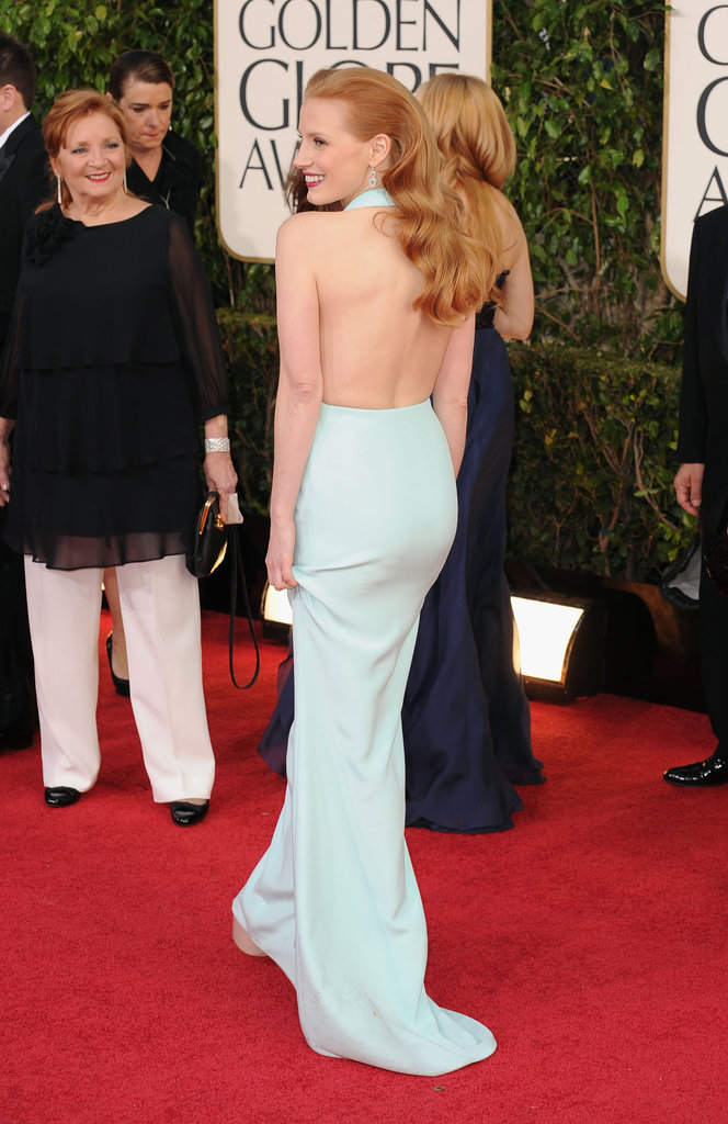 Jessica Chastain looks pretty in blue at the Golden Globe Awards.