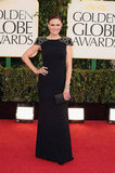 Emily Deschanel posed on the 2013 Golden Globes red carpet.