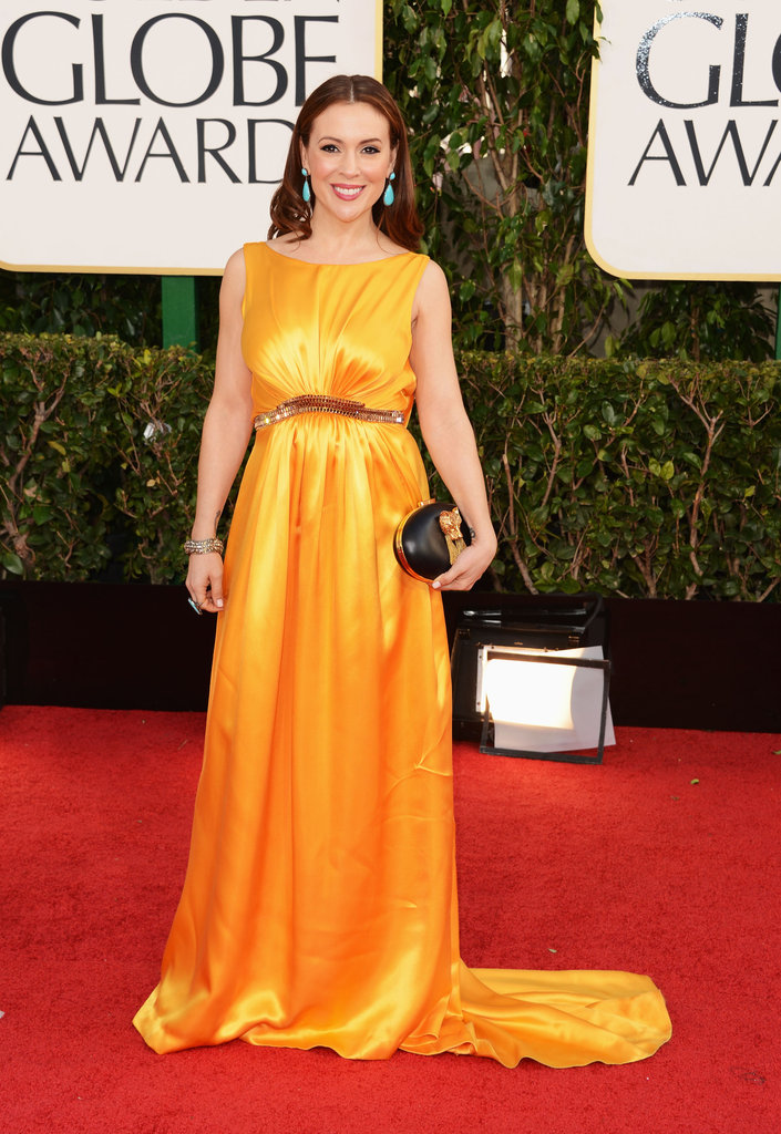 Alyssa Milano — mom to lil Milo, 1 — brightened up the red carpet in a long yellow gown.