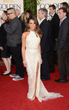 Lea Michele arrived on the 2013 Golden Globe carpet in an ivory beaded Elie Saab number.