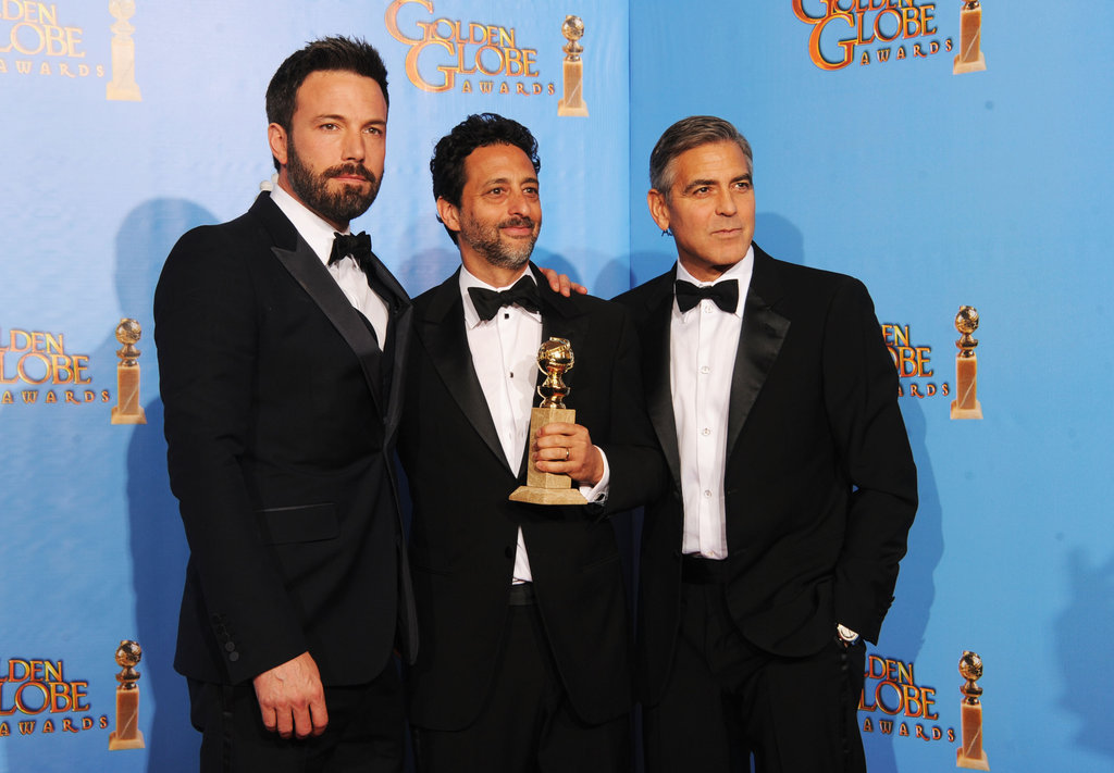 Ben Affleck, Grant Heslov, and George Clooney celebrated their Argo win in the press room.
