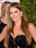 Sofia Vergara smiled as she sauntered down the carpet in a sparkly black gown.