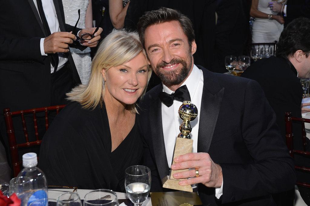 Hugh Jackman and his wife Deborra Lee Furness posed with his best actor Golden Globe.