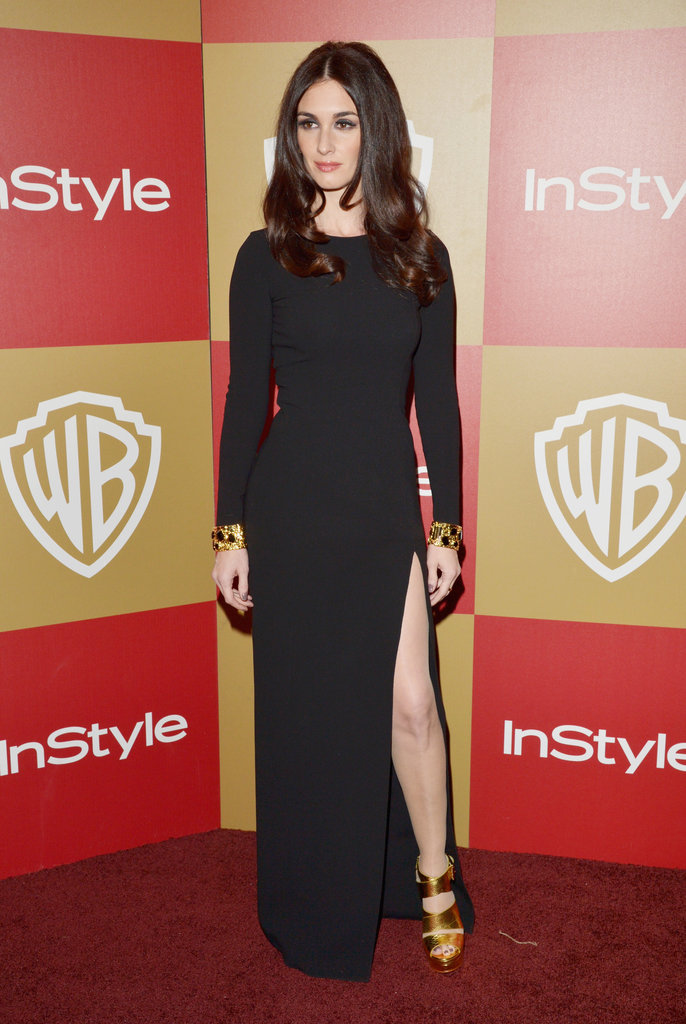 Paz Vega donned a long-sleeved black gown but kept things interesting with a sexy leg slit and metallic heels.