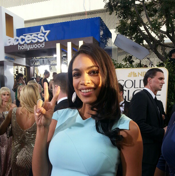 Rosario Dawson Goes For Sky Blue