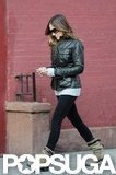 Sarah Jessica Parker wore a leather jacket and ankle boots.
