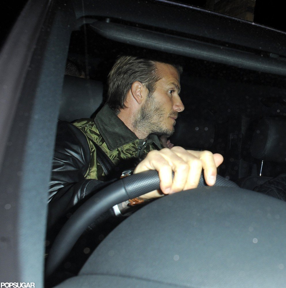 David Beckham drove his boys after the game.