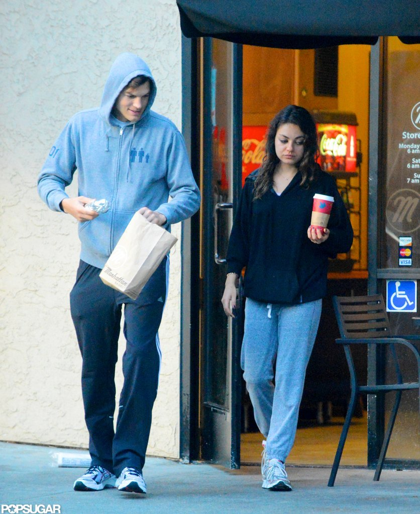 Ashton Kutcher and Mila Kunis grabbed coffee and bagels in their sweats.