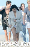 Kim Kardashian walked on the beach in Miami.