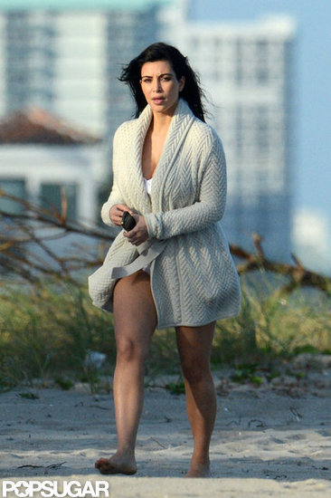 Kim Kardashian was on the beach in Miami.