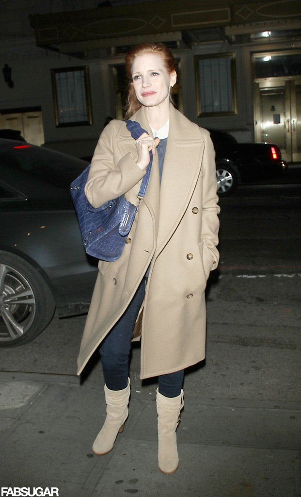 Jessica donned a camel-hued Michael Kors Fall '12 wool coat from the Fall 2012 collection while out and about on Jan. 4, 2013 in New York City.