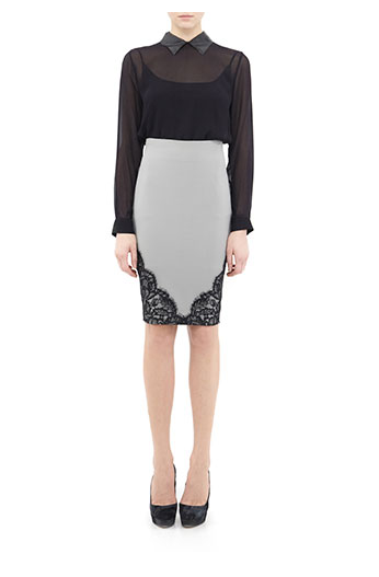 The hint of lace on the hem of this Nicole Miller pencil skirt ($265) makes it easy to transition from day to your dressier night-out occasions.