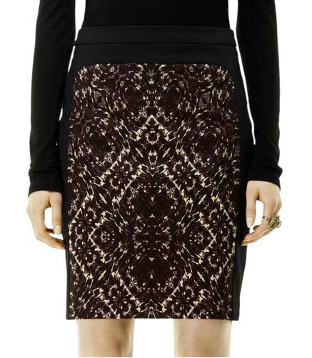 We love the intricate print on Club Monaco's Edith pencil skirt ($99, originally $140). Try tempering the bold pattern with a slouched sweater and ankle boots for a more relaxed take on your 9-to-5 getup.