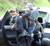 Flynn hitched a ride on Orlando's back during a hike at Runyon Canyon in LA in Dec. 2012.