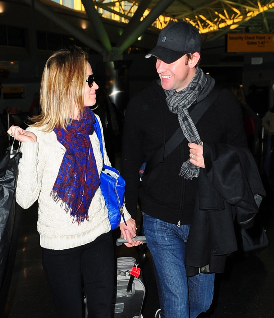 Emily Blunt and John Krasinski looked very happy to be in NYC.