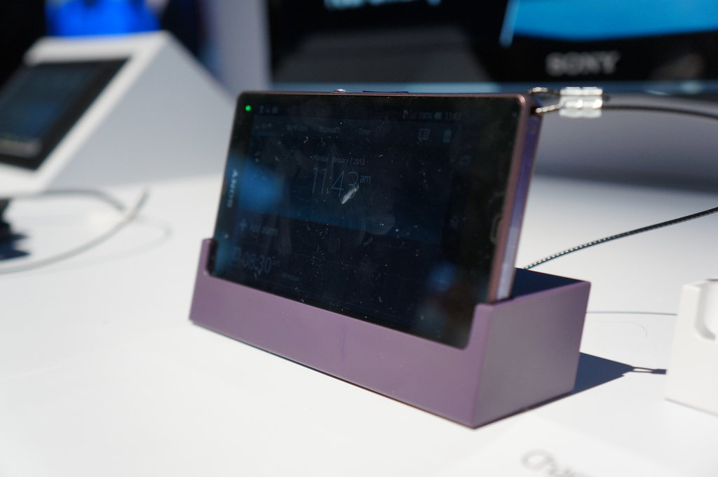 The Xperia Z comes in three different colors — purple, white, and black — while the ZL only comes in white and black. The optional charging dock (sold separately) would make a nice bedside table accessory. The built-in Smart Connect app can be programmed to perform specific functions when the phone is connected to the dock. Turn on your morning alarm automatically, for example, once you dock your phone before sleeping.