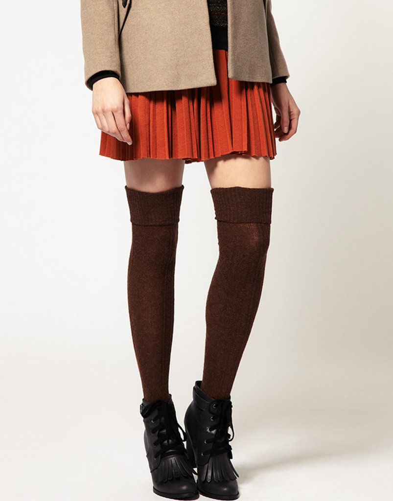 If you can't resist showing a little skin, Asos's wool cable over-the-knee socks ($12, originally $21) are perfect for pairing with miniskirts and dresses.