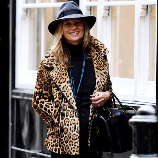 Kate Moss Wearing Leopard Print Coat (Pictures)