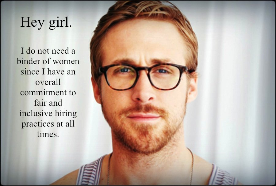 "The Mitt Romney ""binders full of women"" comment gets a Ryan twist on Feminist Ryan Gosling."