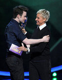 Chris Colfer and Ellen DeGeneres