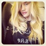 Rosie Huntington-Whiteley posed on an airplane. Source: Instagram user rosiehw