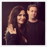 Courteney Cox smiled for photos ahead of an appearance on Conan. Source: Instagram user teamcoco