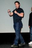 Mark Wahlberg showed off his muscles in a tight t-shirt to premiere Broken City in Philadelphia.