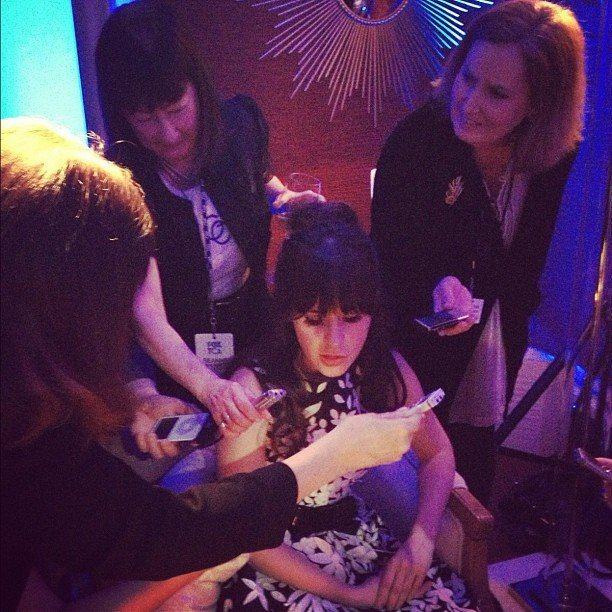 Zooey Deschanel shared a photo while giving interviews during the TCAs. Source: Instagram user zooeydeschanel