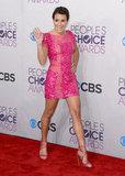 Lea Michele went short in a pink dress.