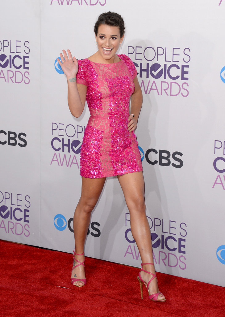 Lea Michele went short in a pink dress.