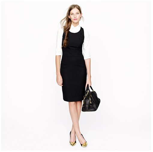 We'd wear this J.Crew Emmaleigh dress ($148, originally $188) just like this: layered with a crisp white blouse and accessorized with peep-toe pumps and a sleek black satchel.