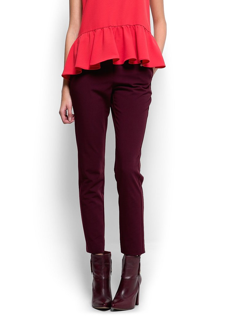 We love the idea of swapping out the regular pair of black or gray trousers with this pair of burgundy Mango straight-cut trousers ($25, originally $55).