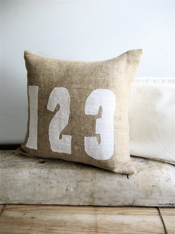 Burlap Numbers Accent Pillow