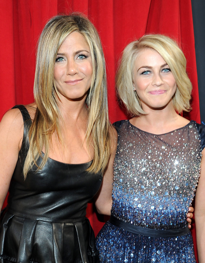 Jennifer Aniston and Julianne Hough showed off their matching pretty blue eyes.