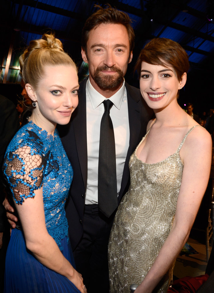 Amanda Seyfried, Hugh Jackman, and Anne Hathaway
