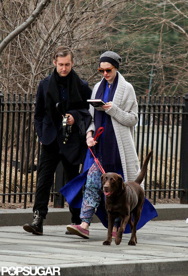Anne Hathaway and Adam Shulman walked the dog together.
